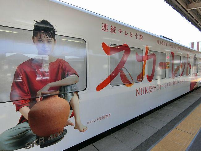 スカーレットの舞台の信楽へローカル線信楽高原鉄道にて訪れた。<br />電車はラッピング列車。<br />街中には、色んなアートな「たぬき」がいる。<br />