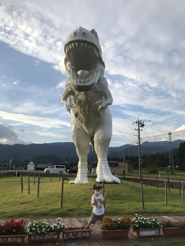 シルバウィークはバンコクに行って象に乗る予定がなくなったため、子どもが1番ハマっている恐竜を見るために福井へ!大人は温泉に浸かりたいと芦原温泉もついでに。Gotoキャンペーンでいつもの安旅が少しグレードアップして大人も子どもも大満足の旅でした。<br />とは言いつつシルバーウィークをなめてました。。。自宅からから福井まで車で片道4時間ちょっとのところを7時間半。着いてすぐ道の駅で温泉に入ったのに写真を撮り忘れてます。