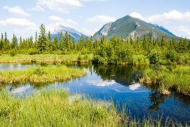 春のカナディアン・ロッキー再訪【7】早朝のモレーン湖と新緑輝くバーミリオン湖(2007/6/22)