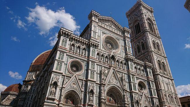 2019年7月にイタリアへ行きました。<br /><br />午前中はピサへ行き、13時過ぎにフィレンツェに戻ってきました。<br />この旅行記はフィレンツェに戻ってきてからの旅行7日目の午後についてです。<br /><br />14時半にクーポラの予約をネットで取っていました。<br />ちょこっと予約窓口を当日覗いてみたけれど2日後から予約取れる状況でしたのでクーポラはやはり事前にネット予約した方がいいと思います。<br /><br />ウフィツィ美術館もネット予約しておりましたけど5月~10月ぐらいまで(?)夜間営業している曜日があったりします。<br />19時入場のを予約してみましたが、人が少なくてとても見やすかったので夜間狙うのもありだと思いました。<br /><br /> <br />1日目 羽田発→仁川経由→ローマ着         (ローマ泊)<br />2日目 ローマからカプリ島に移動          (カプリ島泊)<br />3日目 カプリ島滞在  青の洞窟見学          (カプリ島泊)<br />4日目 カプリ島からポジターノ、アマルフィ観光   (カプリ島泊)                                                      <br />5日目 カプリ島→ナポリ半日観光後フィレンツェに移動(フィレンツェ泊)<br />6日目 フィレンツェ郊外 アウトレットモール等行く   (フィレンツェ泊)                                                  <br />7日目 午前中ピサ 午後フィレンツェ観光                    (フィレンツェ泊)★<br />8日目 チンクエテッレ観光                                 (フィレンツェ泊)<br />9日目 夕方までフィレンツェ観光後→ローマに移動  (ローマ泊)<br />10日目 ローマ観光                 (ローマ泊)<br />11日目 ローマ観光                 (ローマ泊)<br />12日目 14時半頃までローマ観光後空港へ、ローマ発→仁川(機内泊)<br />13日目 仁川着、韓国入国し焼肉食べアカスリ行く、仁川発→羽田着