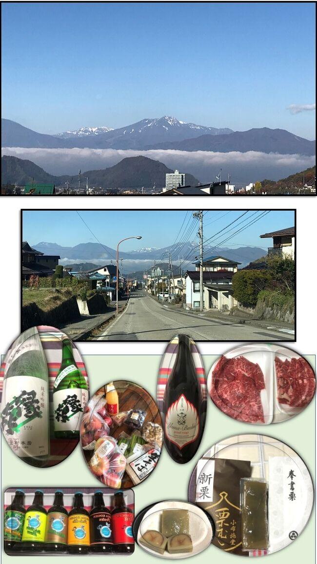 表紙の写真・雲海が綺麗で見とれてしまいました。<br /><br />今回は1万円分の電子クーポンが付いていて、電子クーポンは使える店舗が少ないというのを知り、検索して準備して行きましたが、宿での日本酒が美味しくて伺うと「玉村本店」だと教えて頂けたので、急遽立ち寄りました。<br /><br />玉村本店は高原ビールで有名な店でして、クーポンをほぼ消費^^;<br />後は信州肉もリンゴも、小布施で栗菓子も自費で購入しました(^^)<br />密を避けつつSAに立ち寄り、1泊2日の旅を楽しめて良かったです。<br /><br />この旅行に出かけた頃は、まだコロナ禍騒ぎも落ち着いていましたが、最近になり感染者の増加で、Go Toトラベルも見直し検討ですね。<br /><br />私達も2月のスキー以来、籠りっきりで日常の買い出しも、開店と同時に行き回数も減らしていましたが、夏の暑さと共に気分的に疲れてきましたね。<br />孫達は暑いのに夏休みも減らされて我慢・我慢。。<br /><br />プールも友人との遊びも制限、我慢させられて可愛そうでした。<br />でも、今は友達と仲良く遊べるので、ストレスは軽減されてきている感じ。<br />子供達の明るい声、笑顔は宝^^<br /><br />夏ころから密を避けてなら、外出も良いかな?と考えるようになりました。<br />ただ、繁華街やGo Toイートは行く気にはなれませんし、公共機関も使う気にはなれずにいます(特に使わずとも良い場所に車で行くだけにしています)<br /><br />その分、庭の手入れ・小間物作りに興味が移り、ストレス回避にはなっています(^^)<br />今年も後1か月あまり・・皆様もどうぞお気をつけてお過ごしください。<br /><br />