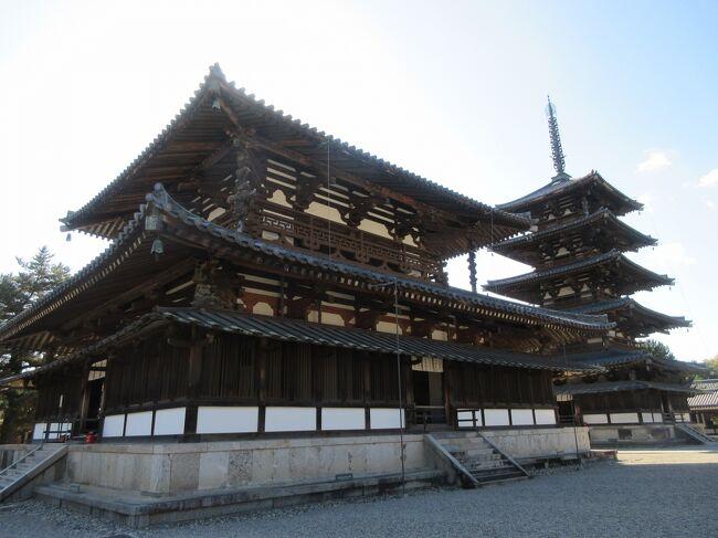 Go to トラベルを利用し、奈良に3泊し、寺と仏像巡りをしてきました。利用した旅行業者は東海道沿線に強いJR東海ツアーズ、宿泊は三条通り沿いに建つ奈良ワシントンホテルプラザです。最初の3日間は、観光地をほぼ網羅している近鉄と奈良交通バスが乗り放題になる奈良世界遺産フリーきっぷを利用しました。<br />1日目は薬師寺、唐招提寺、<br />2日目は紅葉が美しい室生寺、長谷寺<br />3日目は法隆寺、法輪寺、法起寺、中宮寺<br />4日目は興福寺、元興寺、古い町家が残るならまち<br />を中心に巡ってきました。<br />この旅行記は3日目の記録です。<br />