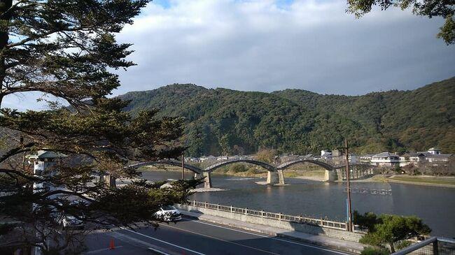 48年ぶりの広島と錦帯橋温泉。2泊目は錦帯橋温泉。錦川のほとりにある岩国国際観光ホテル。<br />お部屋からもお風呂からも錦帯橋が昼間も夜のライトアップも見られました。<br />ホテルの食事は竜宮城の乙姫の様、鯛やヒラメ伊勢海老とご馳走をいただきました。<br />3日目は錦帯橋と周辺の歴史的地域を観光しました。<br />錦帯橋は平成の修理を終えて昔来たことがあると夫が言います。昔より登りやすいとか。<br />錦帯橋を渡、武家屋敷や公園を回ります。文化財の目加田屋敷は夫が学生だった頃文学部の教授<br />だった方の生家だったそうです。<br />ロープウエイ。岩国城。天守閣から岩国空港も錦川も見えました。<br /><br />錦帯橋は明治になるまで武士や家族しか渡ることができなかったそうです。<br />岩国からJRで広島に向かいます。<br /><br />