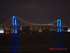 2020 医療従事者慰労ライトアップのレインボーブリッジ&東京スカイツリー