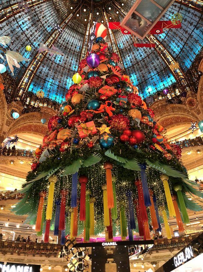 年明けからのコロナ騒動、今までの日常が日常でなくなった1年がもうすぐ終わろうとしている。マスクにうがい手洗い、アクリル板で隔たれた接客、観客席がないバラエティー番組が当たり前になった。社会が根底から揺らいだ年、しかもまだその終わりが見えないという底知れない恐さ。それでもクリスマスもお正月もやって来る。<br /><br />フランスで暮らす娘から家族ラインでギャラリーラファイエットのクリスマスツリーの画像が送られてきた。今年はなんとギョッとするような原色使い。例年クリスマスカラーの赤は使われているが今年ほどインパクトは強くない。シックを売りにしているお国なのにトロピカルかと見まがうほど。様々な色を多用しコントラストを強くした今年のツリーはことのほかメッセージ性が強いと、私は思う。<br /><br />赤、生きているからこその血液の色、命そのもの。青、医療従事者への感謝の色、イギリスの国営医療サービスのシンボルカラーが青だったことから現在世界各地に広まっているようだ。黄色は希望、緑は萌える若葉の色「再生」か。<br />感染者は約250万人、大統領まで陽性というフランス。死者は6万人を超える。それぞれの生を生きたであろう人達が数で表される。<br /><br />自分が見たわけじゃないラファイエットのクリスマスツリーを勝手に旅行記にしてみた。
