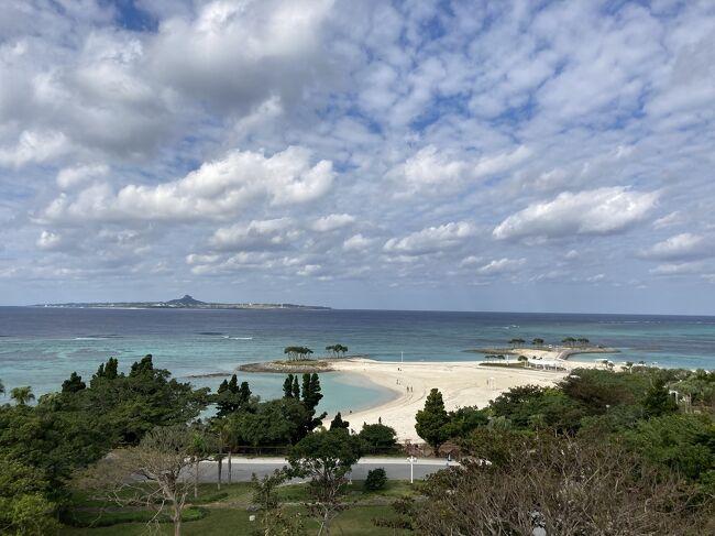 1歳4ヶ月の娘は、<br />寒いのが苦手。<br />暖かい沖縄で過ごす為に向かいました。<br />1泊目は美ら海水族館から近い、モトブリゾートへ。<br />2泊目からは大人も楽しめるヒラマツ宜野座へ。<br />チェックインまでに、果報バンタや万座毛、やちむんの里など行きました。