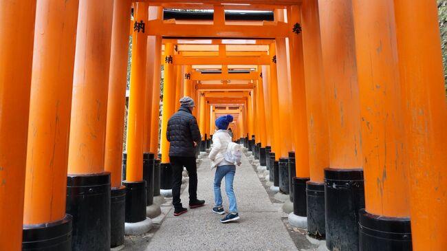 昨年の初詣は、贅沢にも京都の伏見稲荷に行ってきました。<br />千本鳥居がずっと見たかったけど、なかなか行く機会がなくて。<br />早起きして、早朝空いてる時間にお参りを済ませ、午後は奈良の友人宅へ。<br />空いた時間を利用して京都駅に寄り道して、東本願寺と京都タワーにも行ってきました。