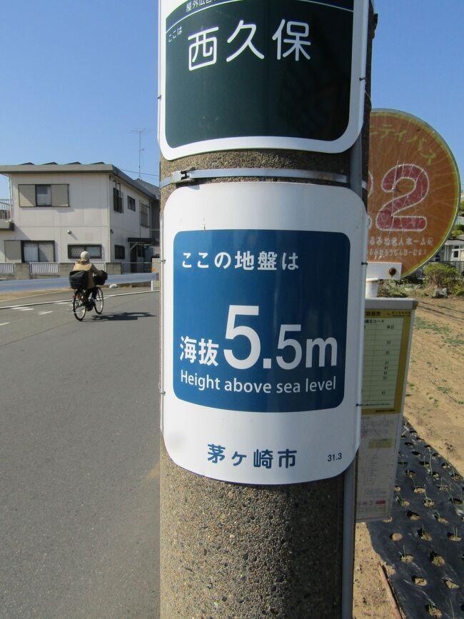 マンホール蓋のデザインが烏帽子岩(https://4travel.jp/travelogue/11678752)であり、茅ヶ崎市は海(相模湾)に面した町である。10年前の大震災以降、海がある市町村では海抜表示するのが一般的であり、土木事務所や国道管理事務所や警察等でも海抜表示がなされることになって久しい。<br /> ここ茅ヶ崎市でも市が設置した海抜表示(https://4travel.jp/travelogue/11268995)が各所に見られる。一般に海抜が1桁程度と低いことは一見して気が付くが、こうした海抜表示の設置が平成31年(2019年)3月とあり、令和になる直前、一般には平成31年というよりは令和元年の印象が強い年である。こうした海抜1桁の地区に設置された海抜表示には「津波注意」が一体となったものが多いようだが、海岸から遠いこの辺りでは「津波注意」の表示はない。<br /> 横須賀市の海抜表示のように紙の簡易なものででもなければ、こうした金属板製の海抜表示であれば10年やそこらは持つはずで、おそらくは、こうした茅ヶ崎市の海抜表示は最近になって新に増設されたもののようだ。<br /> 海岸から遠いこの辺りでも脇に相模川が流れ、現実には津波があればこうした海抜1桁の地区は浸水の可能性がある。そうした理由で海抜表示が増設されたのであろう。<br />(表紙写真は西久保地区の海抜表示)