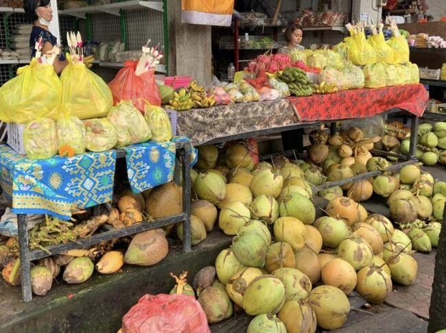 バリ島のお供えに欠かせないココナッツ。<br />toko sarana yadnyaと言うお供え物が売られている、バリ島らしいお店があります。<br />たくさん、色々なココナッツやお供え物が売られています。<br />またココナッツって、栄養もあって飲むと健康にも良いんですよね!<br />免疫力を上げて、元気でコロナに負けない身体作りに心がけたいですね&#128591;
