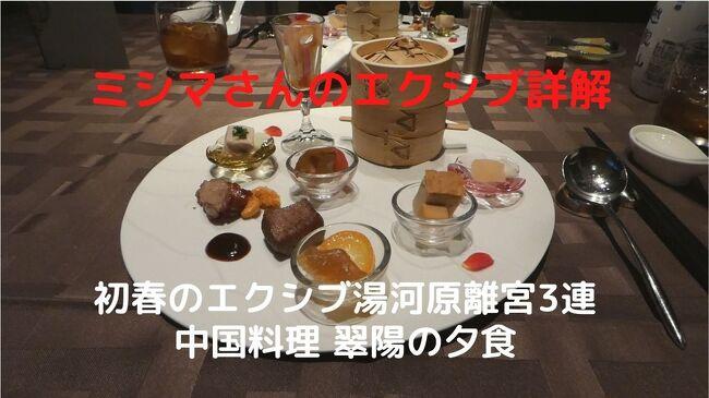 この日の夕食はパブリック棟1階レストラン街の中国料理 翠陽で、プレミアムスモールポーション 玉珠(ギョクジュ ¥13,200-)を予約しました。<br /><br />フカヒレの姿をはじめ、アワビや伊豆産伊勢海老を使った海鮮主体の豪華な料理を、古越龍山10年(¥9,240-)と共に楽しみます。<br />