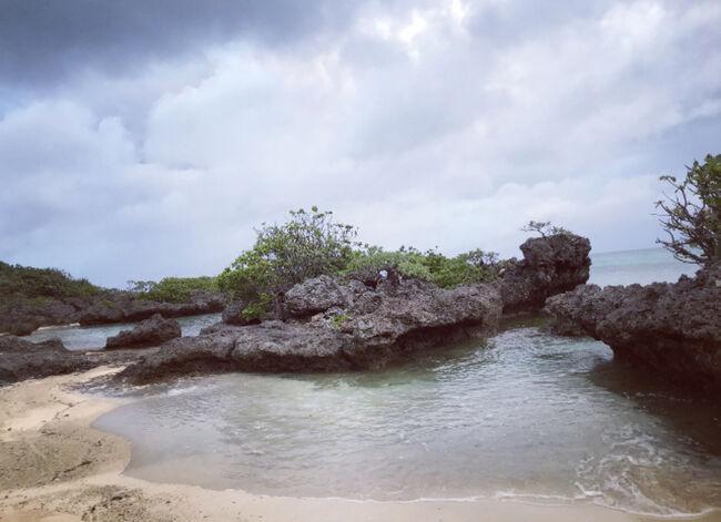 早朝散歩で、石垣シーサイドホテルから川平タバガーへ。<br />ハプニングありの道のりでしたが、行く価値ありです。<br />隠れビーチです。<br />どうやらオプショナルツアーのバギーのコースになっているみたいです。<br />チェックアウトしてからは石垣島空港までの道のりを観光しながら向かいました。<br />八重山ヤシや、マングローブ群落、展望台で石垣島を堪能できました。