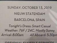 10泊 N Statendam★3★ 7日目 Sun, Oct 13Barcelona, Spain