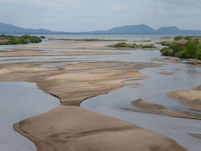 斐伊川あっての出雲、ゆたかな出雲地方はこの川が育んだ。<br /><br />上流は上質の砂鉄を含み、日本の製鉄の原点、中流は木次線の渓谷となっている。<br />下流は広大な扇状地で、いまでは田んぼが広がり、数件ずつ固まった人家が点在している。<br />そして滋養に富んだ川の水は宍道湖にそそぐ。<br /><br />河口は県道23号から入ることにより比較的楽に到達できたのだが、さて車から降りて見渡してみても、川幅が広すぎて河口がよく見えない。宍道湖と斐伊川はもう一体になっていて、見境がつかない。<br /><br />そこで、県道23号の灘橋に回る。表紙の写真がそれだが、この橋が長大で、車を停車させるところもなく、写真を撮るのに大変苦労した。<br /><br />河口は人の手がはいっていない。北海道の川のように雄大だ。すばらしい河口。<br /><br />川の中には多くの砂州ができていて、水鳥が羽を休めていた。この砂州をみても斐伊川の砂礫の多さがわかる。日本でも有数の天井川であることを納得する。<br /><br />斐伊川は大河でありながら島根県内しか流れていない。源流は島根県の船通山。厳密には境港の水道で日本海にそそぐまでが斐伊川なので、鳥取県も流れているとする資料もある。<br />
