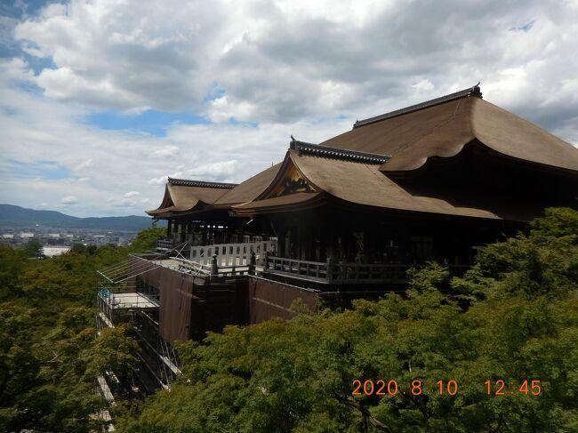 2020年 コロナ禍真っ只中の夏休みは、感染予防を徹底したうえで京都と滋賀の寺社巡りの旅行をしました。<br />当時東京都以外ではGotoトラベルキャンペーンが始まっていましたが、地域クーポンは無く、事後申請での一部返金のみで、結局自身にとってGotoトラベルの恩恵を受けることができた唯一の旅となりました。<br /><br />1日目(8月10日):京都観光→京都市街泊<br />2日目(8月11日):京都観光→亀山温泉泊<br />3日目(8月12日):京都観光→雄琴温泉泊<br />4日目(8月13日):滋賀観光→帰宅<br /><br />4日間とも晴天に恵まれたのですが、猛暑の中での寺社巡りは非常にハードな旅でした。まずは1日目 京都観光です。