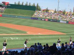 アリゾナ州 メサ - スローン パークで侍ジャパンvsシカゴ カブスの練習試合前のセレモニー