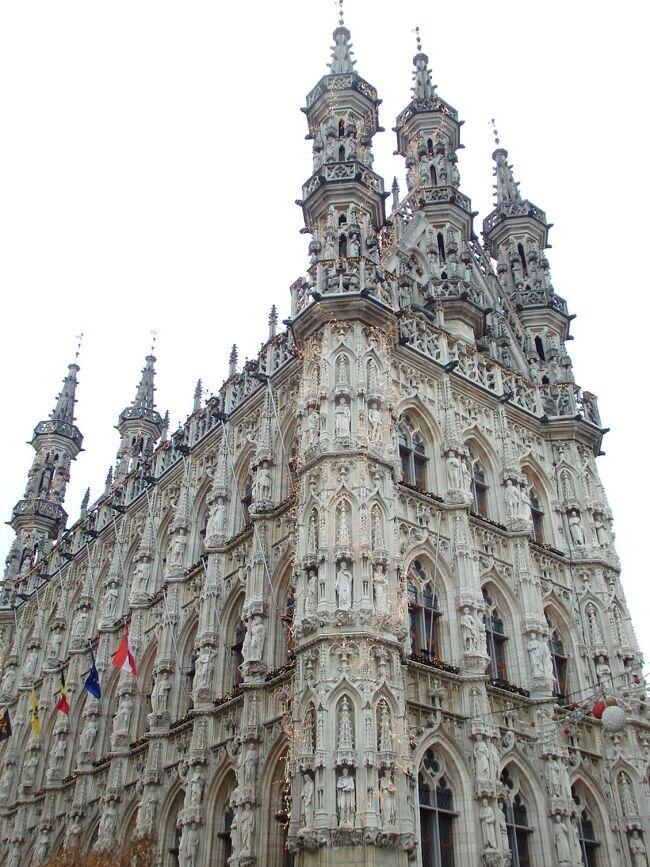 リエージュからハッセルトを訪れた次の日は、ルーヴェンを訪問します。<br /><br />ルーヴェンはベルギーのフラームス=ブラバント州の州都。リエージュから列車で30分、首都ブリュッセルからならわずか20分のロケーションにある絵本のような家並みが魅力の古都です。<br />11世紀~14世紀にかけて商業の最重要拠点となり、13世紀に毛織物産業で繁栄。14世紀には衰えを見せたものの、寂れた毛織物マーケットの跡地に大学が創設され、18世紀には以前からのビール産業で活気が復活し、現在は宗教と学生とビールの町として人気を誇っています。<br /><br />見所は何といってもレースのような彫刻装飾で覆われた市庁舎。向かいの聖ペテロ教会や大学図書館も見所の一つで、広場で繰り広げられるクリスマスマーケットを楽しみにして訪れたのですが・・・<br /><br />☆&#39;.・*.・:★&#39;.・*.・:☆&#39;.・*.・:★&#39;.・*.・:☆&#39;.・*.・:★&#39;.・*.・:☆&#39;.・*.・:★&#39;.・*.・:☆&#39;.・*.・:★<br /><br />【スケジュール】<br /><br />12月2日(月)関空発<br />12月3日(火)ドバイ→ブリュッセル→ブルージュ(ブルージュ泊)<br />12月4日(水)ブルージュ市内観光(ブルージュ泊)<br />12月5日(木)ブルージュ市内観光(ブルージュ泊)<br />12月6日(金)ブルージュ→リエージュ(リエージュ泊)<br />12月7日(土)ハッセルト訪問(リエージュ泊)<br />12月8日(日)ルーヴェン訪問(リエージュ泊)<br />12月9日(月)リエージュ→アントワープ(アントワープ泊)<br />12月10日(火)アントワープ市内観光(アントワープ泊)<br />12月11日(水)メッヘレン&リール訪問(アントワープ泊)<br />12月12日(木)アントワープ→ヘント(ヘント泊)<br />12月13日(金)ヘント市内観光(ヘント泊)<br />12月14日(土)ヘント→ブリュッセル(ブリュッセル泊)<br />12月15日(日)ブリューッセル市内観光(ブリュッセル泊)<br />12月16日(月)ディナン訪問(ブリュッセル泊)<br />12月17日(火)ブリュッセル空港→ドバイ着<br />12月18日(水)ドバイ空港→関空着