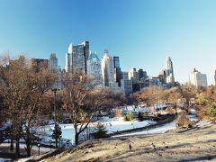 【朝のセントラルパークへ】  朝起きてまずはホテル近くの有名なセントラルパーク(Central Park)へ行きました。 まだ雪が残っていて、散歩するにはちょっと寒かったです。 ミッドタウン寄りのところにはウルマン リンク(Wollman Rink)というスケートリンクがあり、たくさん人が滑っていました。  Wollman Rink, Central Park, New York City, New York