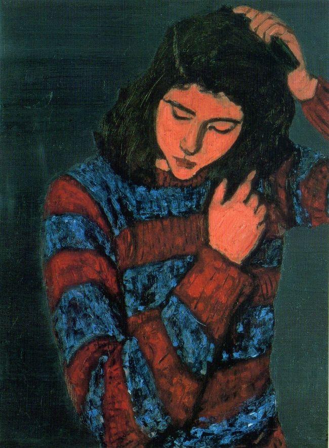 林武(1896-1975)<br />『梳る女』<br />1949年<br />大原美術館蔵