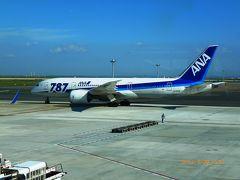 羽田に到着して搭乗手続きと手荷物検査を済ませて中に…  宇部空港のゲート?は73と一番端の方で延々と歩きました。 到着すると目の前にはボーイング787が3機駐機しているのが見えました。
