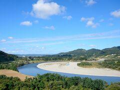 関越道 越後川口サービスエリア (上り) よりの信濃川の眺め