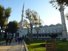 敷地に入るとブルーモスクが見えてきて期待でドキドキ。敷地内からだと見上げる大きさで思ったより大きくてびっくりしました。