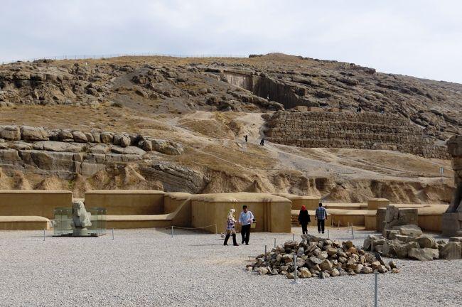 2012秋、イラン旅行記(24):11月19日(7):ペルセポリス(6):帰路での遺跡光景、麓で咲いていた花、バラ