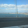 ●明石海峡大橋から@車中から  JR大阪駅から新しく開通した阪神高速の左岸線を通り、神戸市内を通り、明石海峡大橋まで走ってきました。