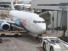 バヌアツへは、エアーバヌアツで行きました。 B737型機1機のみで国際線を運航しているようです。機体の絵も南国!! ちなみに、NZから見ると南国ではないので・・・トロピカルアイランドと言います。