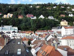 ユースホステルからの眺めです。とってもいい眺め。 ベルゲンは港付近まで山がせっまっていて、平地がすくなく、住宅は切り立った山の上まで建てられています。どれもかわいい家ばかり。とってもよく手入れされているようです。