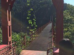 まずは有田川の二川ダムに架かる橋。蔵王橋。  そう。つり橋。  渡るわけがない。