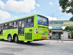トランスメトロのバス。写真のとおり、かなり大型のバスで乗降口が車体の高い位置に設置されている。