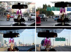 タイ・バンコク市内よりタクシーで高速道路を使い、バンコク・ドンムアン空港へ向う。