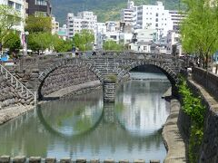 眼鏡橋  長崎で有名な観光名所のひとつ  今日はお天気いいので綺麗なメガネになってます