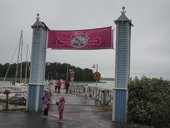 ムーミンワールド入り口に到着。10時過ぎ、小雨の中、子連れの現地の人に混じり入園です。