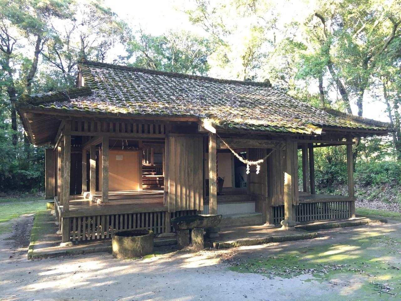 拝殿です。  奥の本殿は国指定の重要文化財となっています。  鎌倉時代の元寇の時に、福岡の箱崎宮より分霊をして奉じたのが起源と言われています。