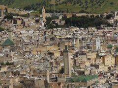 高台の南塔より見たメディナ(手前の塔はカラウィン・モスク 左の塔はザウィア・ムーレイ・イドリス廟)