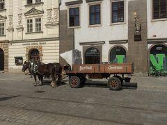 ピルスナー・ウルケルの荷台を引いた馬車。観光用かなと思いきや、生ビール樽が積まれています。