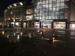 すっかり夜になって19時過ぎに高松駅に到着しました  駅はなかなかオシャレな感じでドイツのフランクフルト中央駅を思い出すような造りです 人はたくさん降りたのですがどこに消えたのか・・ 駅前は静かです