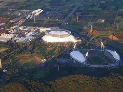 眼下にはパークドーム熊本とえがお健康スタジアム、 熊本県民総合運動公園補助競技場も見えました。