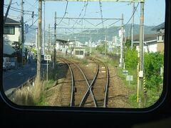 三滝駅。 可部線はもともと大日本軌道という軽便鉄道だったもので駅の間隔が短い。 全線単線だが運転頻度も高いので、多くの駅ですれ違いができる。