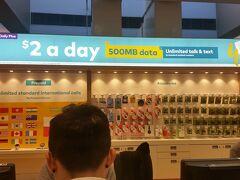 朝8時半に到着!  まずSIMを買う。2日間の滞在で一番安いものを購入。  5日間有効、オーストラリア国内通話、500MB  で・・・10豪ドル  安い!