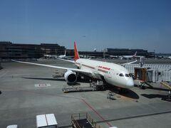 エアインディアで成田から。  デリー乗り継ぎでチェンナイへ向かいます。