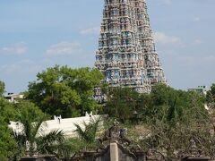 マドゥライ。南インドを代表する寺院都市。  ミナ―クシー寺院が見えてきました。  ミナ―クシーは「魚の目のような美しい目を持つ女神」  そういわれても、あまりピンときませんが…