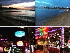 パタヤビーチの夕陽とWalking Street  雑踏の中を歩いて見学⁉︎ リタイア後 移住されてる欧州の方も多く 街中は多民族(*^^*)