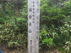 西吾妻小屋の前の分岐を右に折れ、ほどなく山頂到着。  樹林帯の中、狭い、眺望ゼロ。  それでも山頂だから、2~3のグループが記念撮影をしていた。