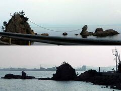 水道を越えて島根県(現・松江市)美保関町に入って、島根半島の突端、地蔵崎に向かう途中にある、男女岩。