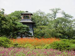 沼田公園のシンボル的な鐘楼の前に花壇が作られています