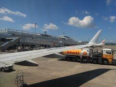 鹿児島空港到着。 そういえばこの日(9月8日)大型太陽フレアの影響が何かあるのかな?と思ったけど特に何も感じませんでした。