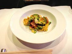 夕食はクラブハウス内にある鉄板焼レストラン「龍潭」へ。 ゴーヤーちゃんぷるーを鉄板で作ってくださったり