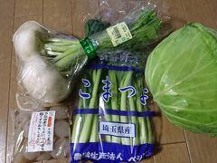 三芳PAは新鮮野菜が安い 高原キャベツ160円小松菜100円カブ100円こんにゃく98円  そしてまたもや予定時間より1時間早く帰着